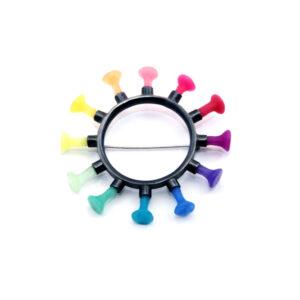 rainbow brooch, Polyps, jenny llewellyn, silicone jewellery, silicone, silicon