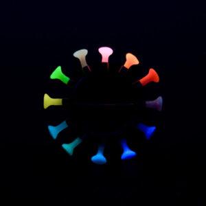 rainbow brooch, glowing, glow in the dark, Polyps, jenny llewellyn, silicone jewellery, silicone, silicon