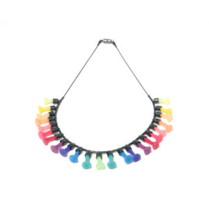 rainbow necklace Polyps, jenny llewellyn, silicone jewellery, silicone, silicon