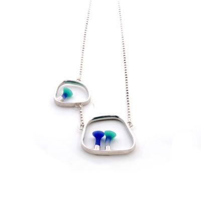 Polyps square pendant, silver, Polyps, jenny llewellyn, silicone jewellery, silicone, silicon