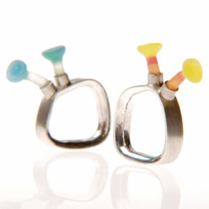 Polyps rings, square rings, silicone jewellery, Jenny llewellyn, luminescent silicone and precious metal jewellery