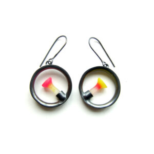 round polyps earrings, oxidised, Polyps, jenny llewellyn, silicone jewellery, silicone, silicon