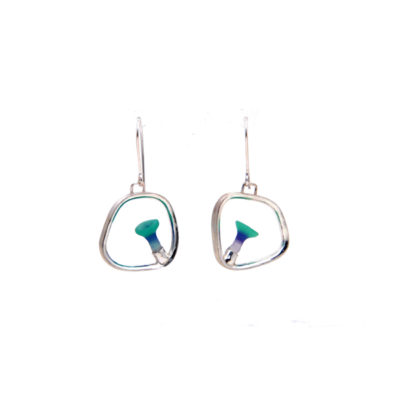 square polyps earrings, Polyps, jenny llewellyn, silicone jewellery, silicone, silicon