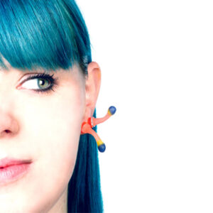 squirts, ear squirts, silicone jewellery, jenny llewellyn, silicon, studs, earrings, blue hair