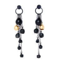 Chromophobia cascade earrings, black, gold, oxidised silver
