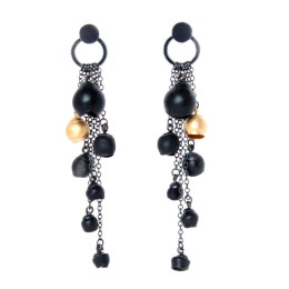 Chromophobia cascade earrings, black, gold, oxidised silver