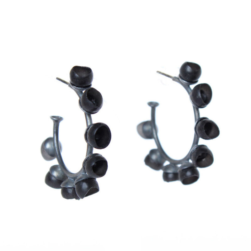 chromophobia, hoops, earrings, jenny llewellyn, silicone jewellery, jewellery, silicone, silicon, jewelry, black