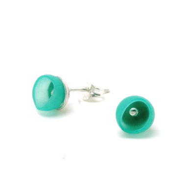 Plume 1 cup studs, jenny llewellyn, silicone jewellery, silver, green turquoise
