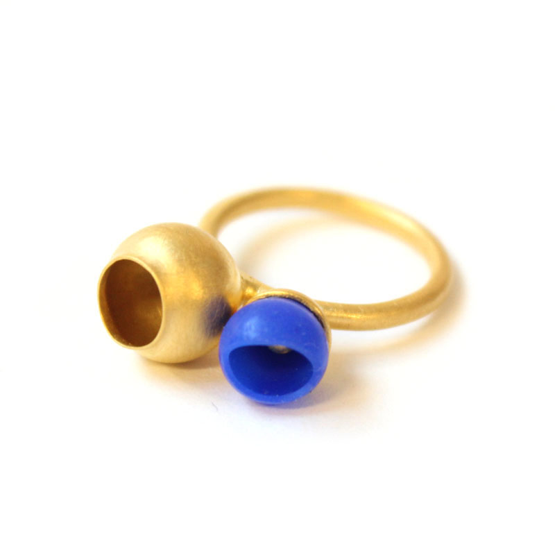 Plume 2 cup ring, gold plate, blue silicone, jenny llewellyn jewellery