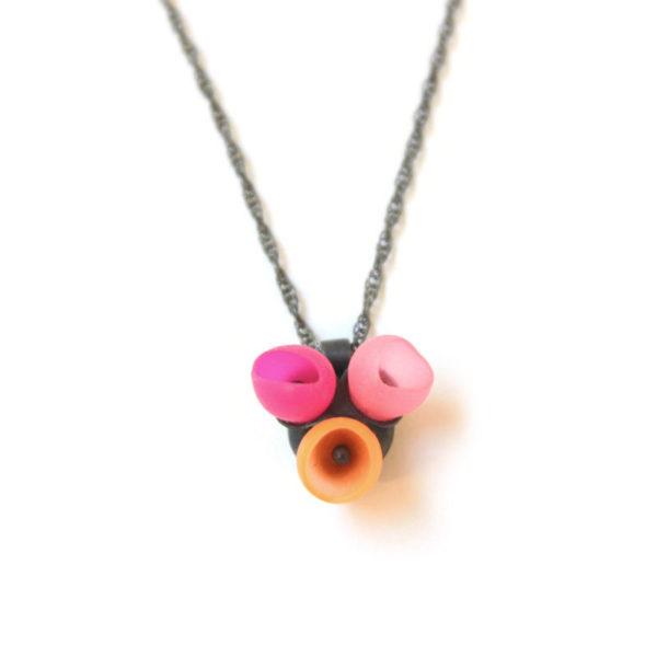 3 cup pendant, oxidised silver, pink orange