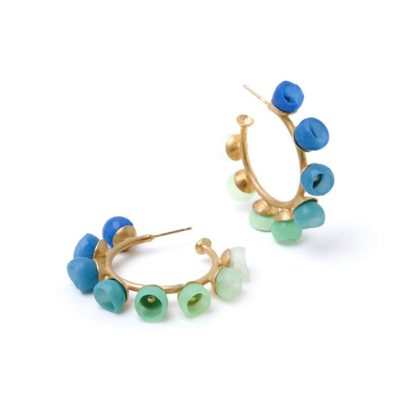 Plume hoops, jenny llewellyn, silicone jewellery, gold, blue green