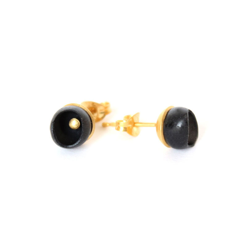 chromophobia studs, 1 cup studs, gold plate, jenny llewellyn, silicone jewellery
