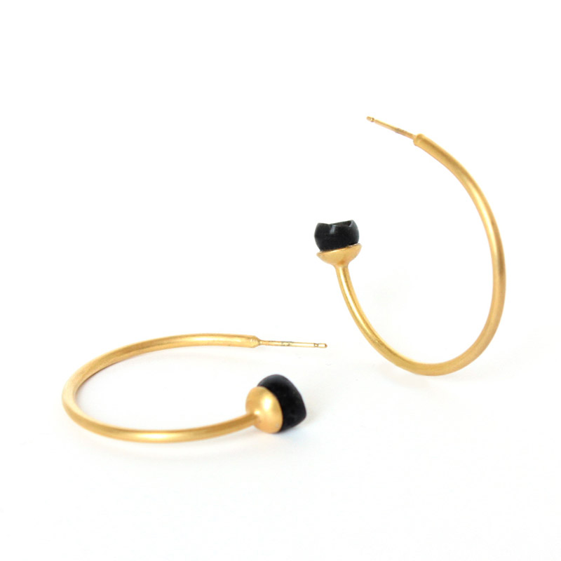 chromophobia 1 cup hoops, gold plate, black silicone, jenny llewellyn, silicone jewellery