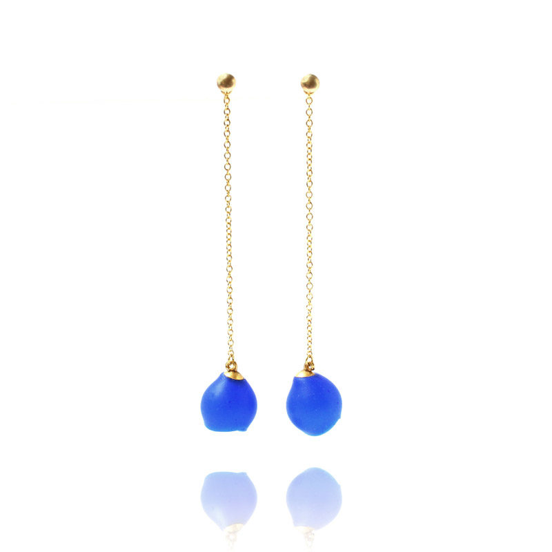 Long chain drops, jenny llewellyn, silicone jewellery, gold, blue