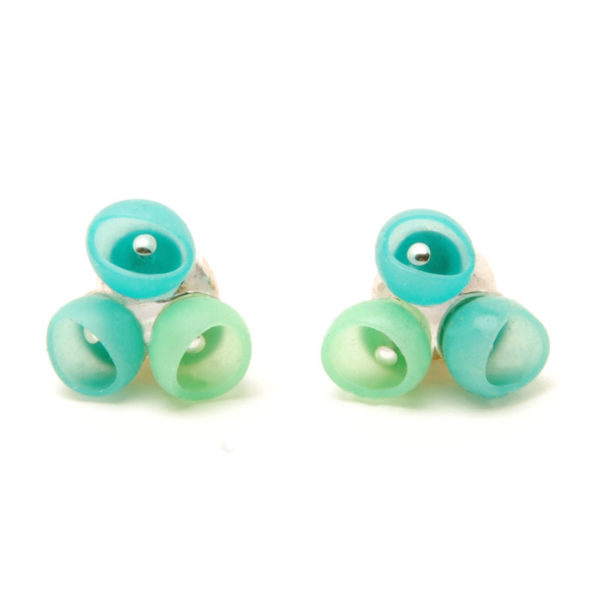 Plume 3 cup studs, jenny llewellyn, silicone jewellery, silver, earrings, turquoise fade