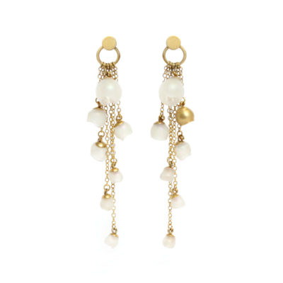 who needs pearls, jenny llewellyn, silicone jewellery, gold plated, cascade earrings