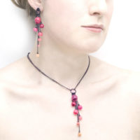 Plume cascade earrings and pendant