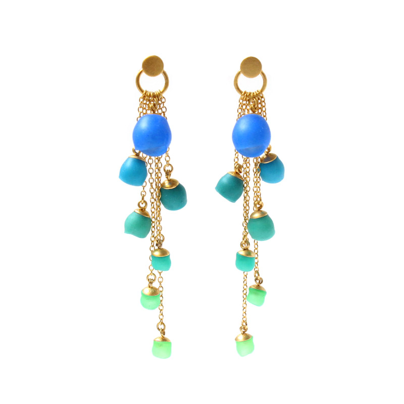 stud green vermeil gold earrings gemstone chrysoprase siena apple