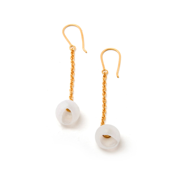 who needs pearls, jenny llewellyn, silicone jewellery, gold plated, chain drops, earrings