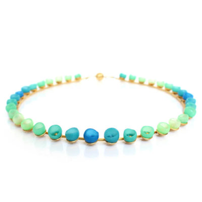 Plume, colour fade necklace, blue, green, gold plate, silicone jewellery, jenny llewellyn