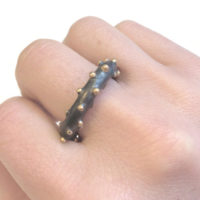 Corilia ring, bobble ring, silver, oxidised, 9ct gold, jenny llewellyn, silicone jewellery