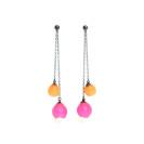 Plume double chain drop earrings, jenny llewellyn, silicone jewellery, oxidised silver, pink orange
