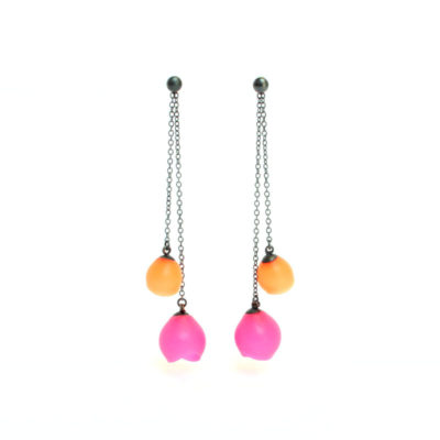 Plume double chain drop earrings, jenny llewellyn, silicone jewellery, oxidised silver, pink orange