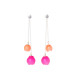 Plume double chain drop earrings, jenny llewellyn, silicone jewellery, silver, pink orange