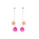 Plume double chain drop earrings, jenny llewellyn, silicone jewellery, silver, pink orange