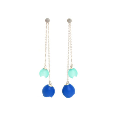 Plume double chain drop earrings, jenny llewellyn, silicone jewellery, silver, blue, turquoise