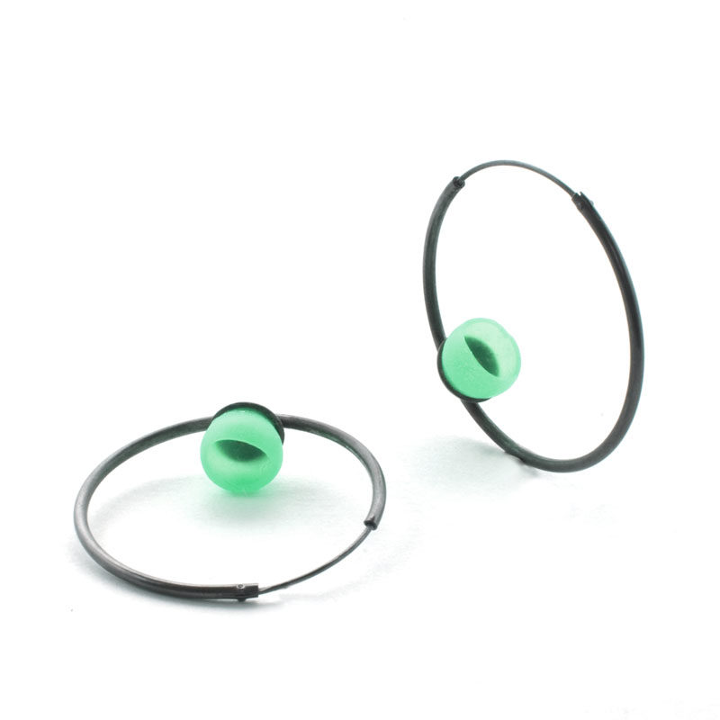 Mix up look sharp, mix and match, jenny llewellyn, silicone jewellery, hoops, green