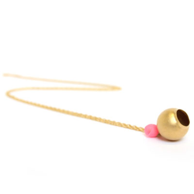 Plume 2 cup pendant, long, jenny llewellyn, silicone jewellery, pale pink