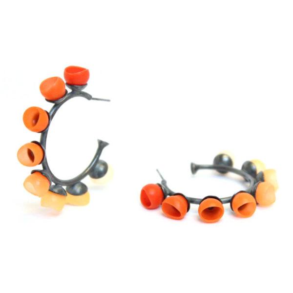 Plume hoops, jenny llewellyn, silicone jewellery, oxidised silver, orange fade