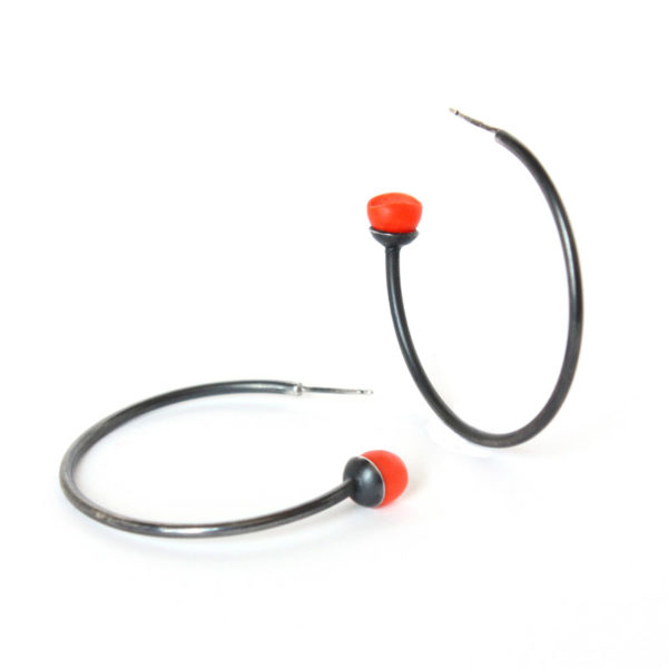 Mix up look sharp, mix and match, jenny llewellyn, silicone jewellery, large hoops, orange