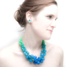 Plume necklace, blue green fade, gold, silver