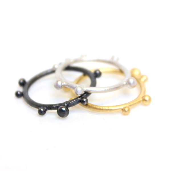 Gold plate Corilia stacking ring, oxidised, silver, black rhodium,jenny llewellyn jewellery