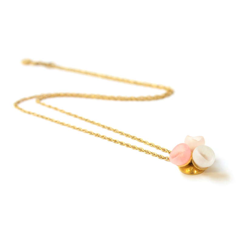 3 cup pendant gold plate pastel fade