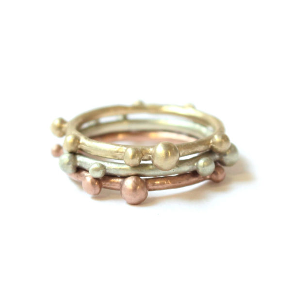 small stacking bobble ring 9ct yellow, rose, white gold