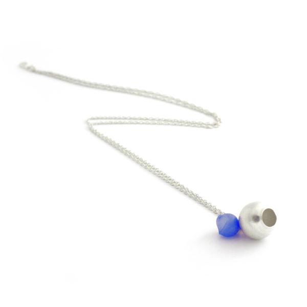 large silver 2 cup pendant blue