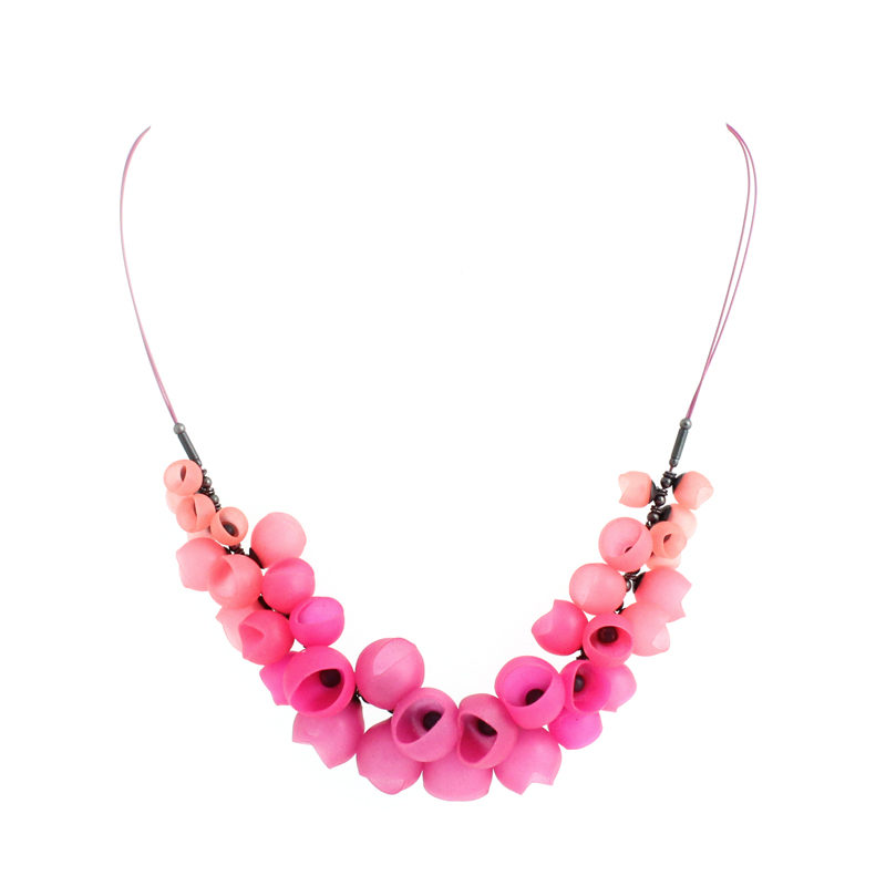 small cluster necklace oxi pink