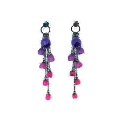 custom purple - pink colour fade earrings