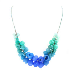 small cluster necklace blue