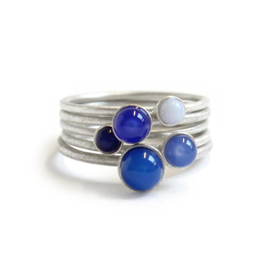 Blue fade gemstone ring set stacking rings