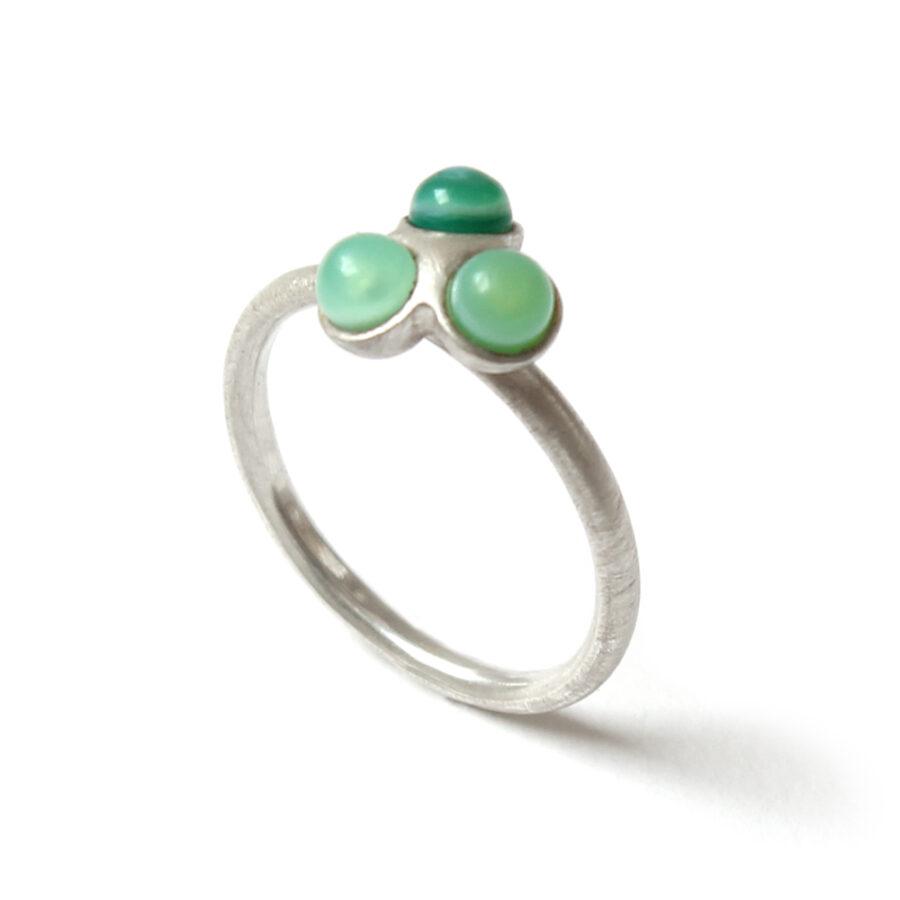 Green fade trio ring