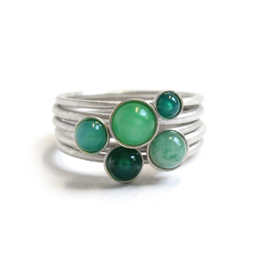 Green fade ring set stacking rings