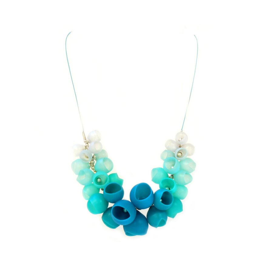 Sea Green half cluster necklace large